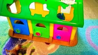 Видео для детей и малышей. Женя играет в игрушечный домик
