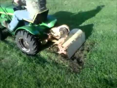 1966 John Deere 110 with 30A Tiller Tilling a Garden YouTube