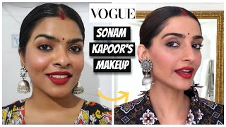 I followed VOGUE Sonam Kapoor Gives a Lesson in '90s Bollywood Beauty | I tried Sindoor? WHAT?