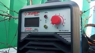 Сварочный инвертор Зубр 250А, работа с сырыми электродами(Работа со сварочным инвертором Зубр модель ТЗ 250Д. Используются сырые электроды, найденные на улице в снегу,..., 2016-02-06T19:27:49.000Z)