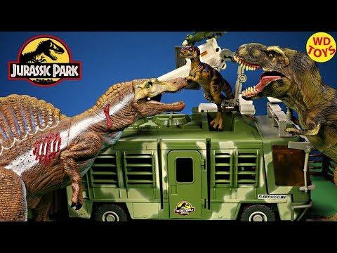 New Jurassic Park Electronic Mobile Command Center Trailer Playset Vs Spinosaurus Dinosaur Toys