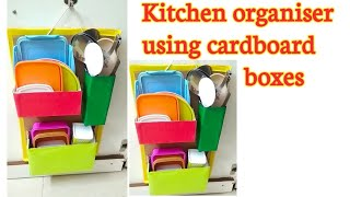 DIY #kitchen organisation idea from waste cardboard boxes#diy organiser from best out of waste