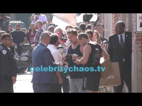 Actor Russell Crowe gets cheered by fans outside Jimmy Kimmel live