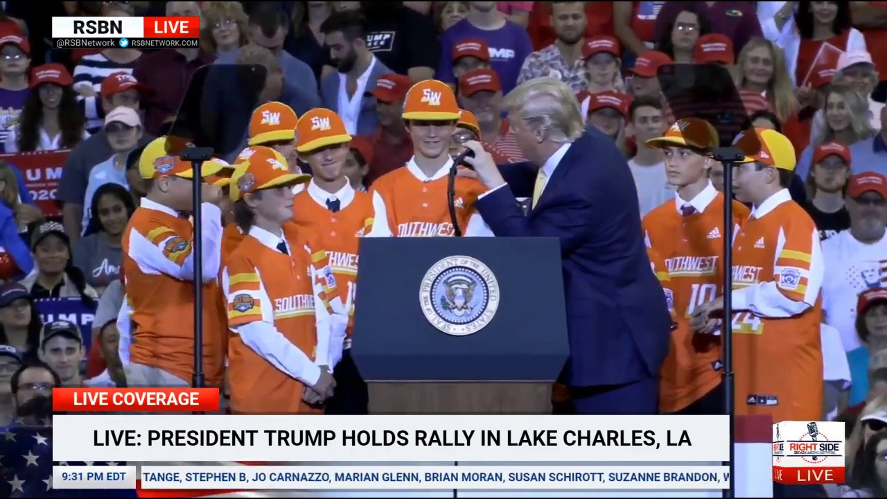 RSBN President Trump Introduces the 2019 Little League World Champs at Rally in Louisiana 10/11/19