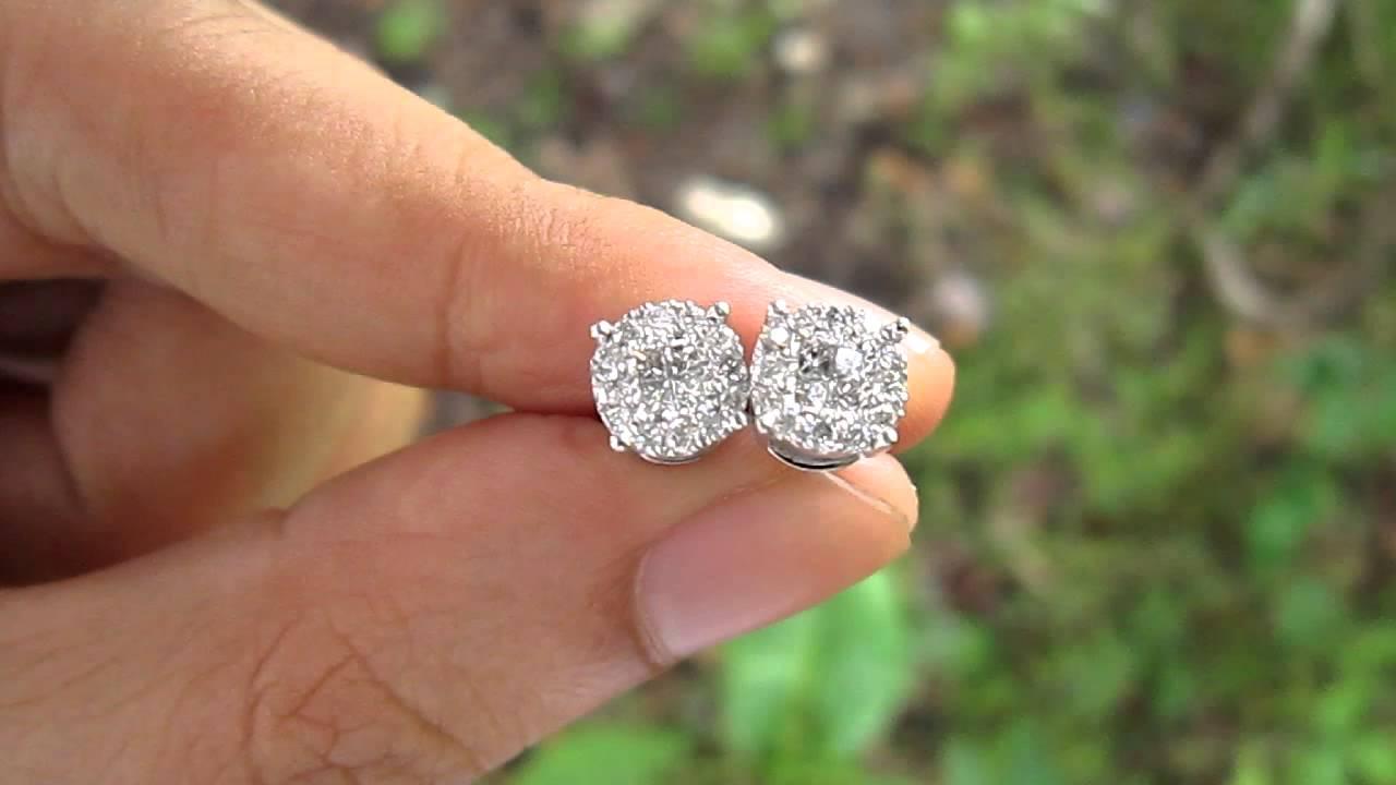 125 Carat Face Illusion Diamond Hkg Setting Gold Earrings