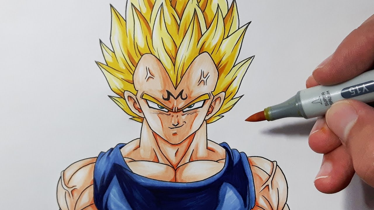 How To Draw Majin Vegeta  Step By Step Tutorial!