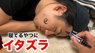 【イタズラ】寝てるモトキへの落書きに初めて成功しました!!!