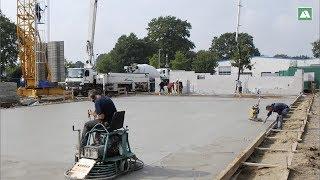 Betonieren und Glätten der Bodenplatte Bargteheide im Zeitraffer