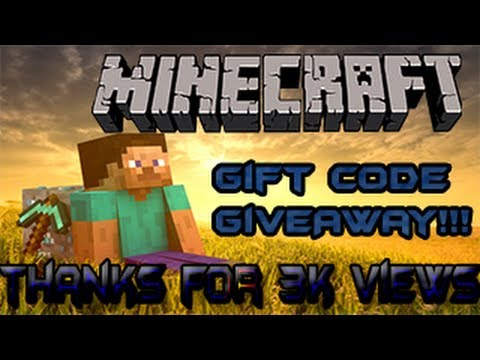 minecraft gift codes giveaway minecraft gift code giveaway thanks for 3 000 views 4054