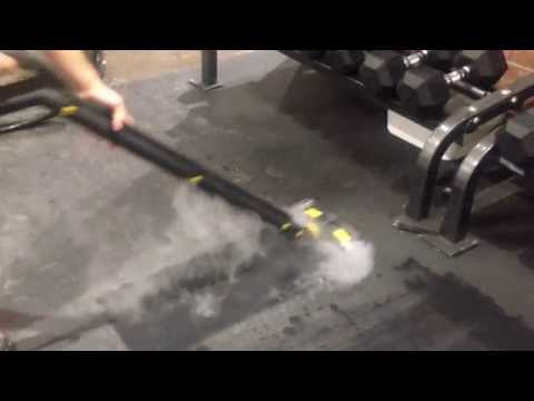 Cleaning A Gym Floor With A Dupray Steam Cleaner