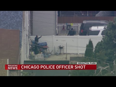 SkyCam9 overhead during shootout between robbery suspect, Chicago police