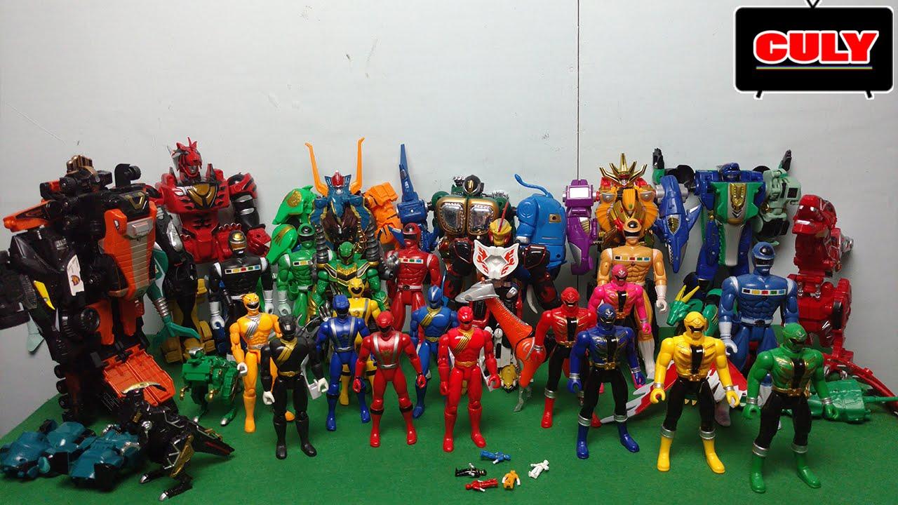 bộ sưu tập 5 anh em siêu nhân gao đồ chơi robot siêu thú biến hình - power  rangers collection figure - YouTube