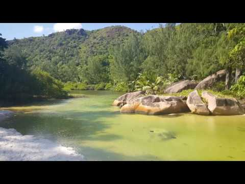 Inner lake at Anse Lazio at Praslin Island Seychelles filmed in April 2016