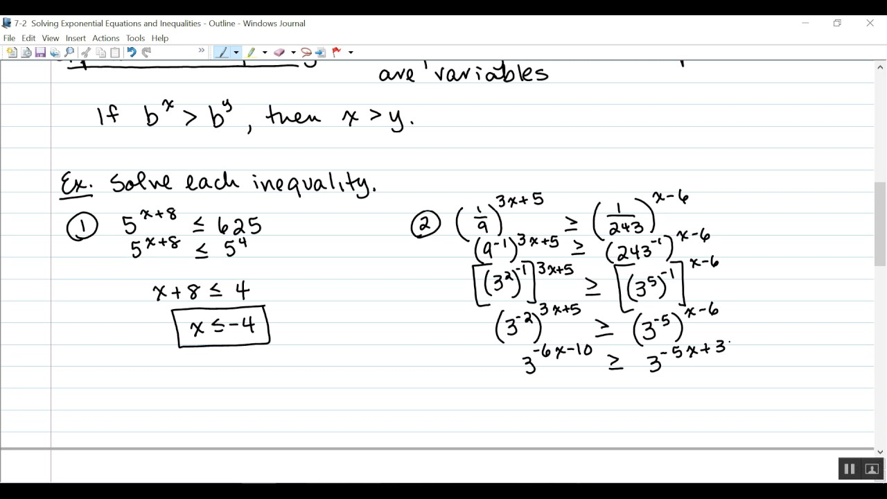 7 2 Solving Exponential Equations And Inequalities Youtube
