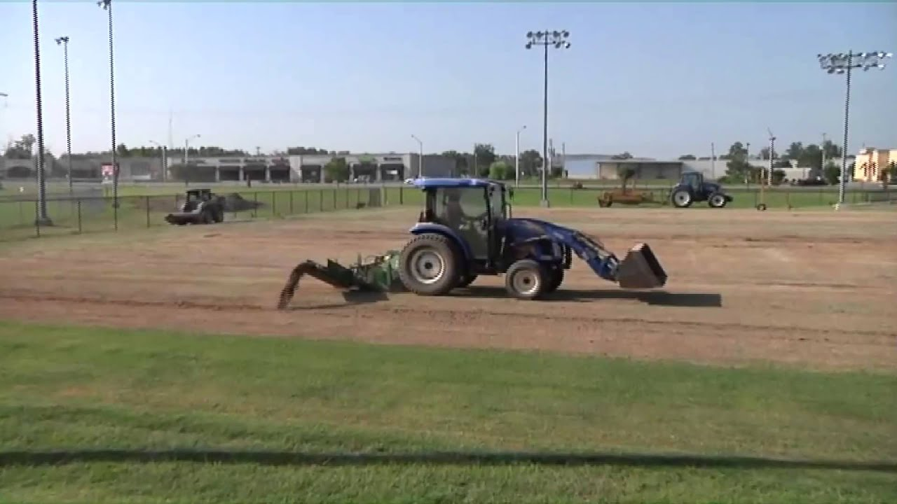 Harding Soccer Field being leveled for new grass turf YouTube