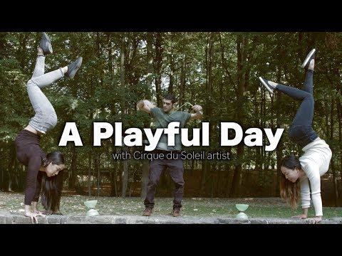 Cirque du Soleil artists in the park: A Playful Day