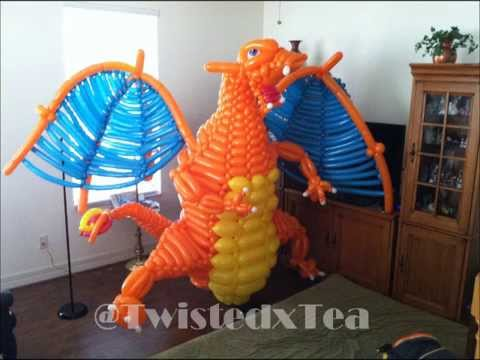 EPIC Life Size Charizard Made out of Balloons!! - YouTube