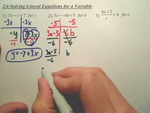 2 6 Solving Literal Equations For A Variable Algebra 1 Youtube