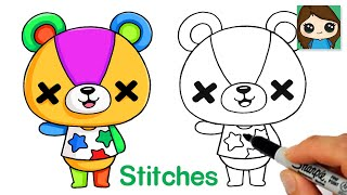 How to Draw Stitches the Bear Cub | Animal Crossing