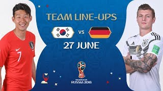 LINEUPS – KOREA REPUBLIC v GERMANY - MATCH 43 @ 2018 FIFA World Cup™