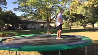 Dad Attempts Backflip On Trampoline (Hilarious)