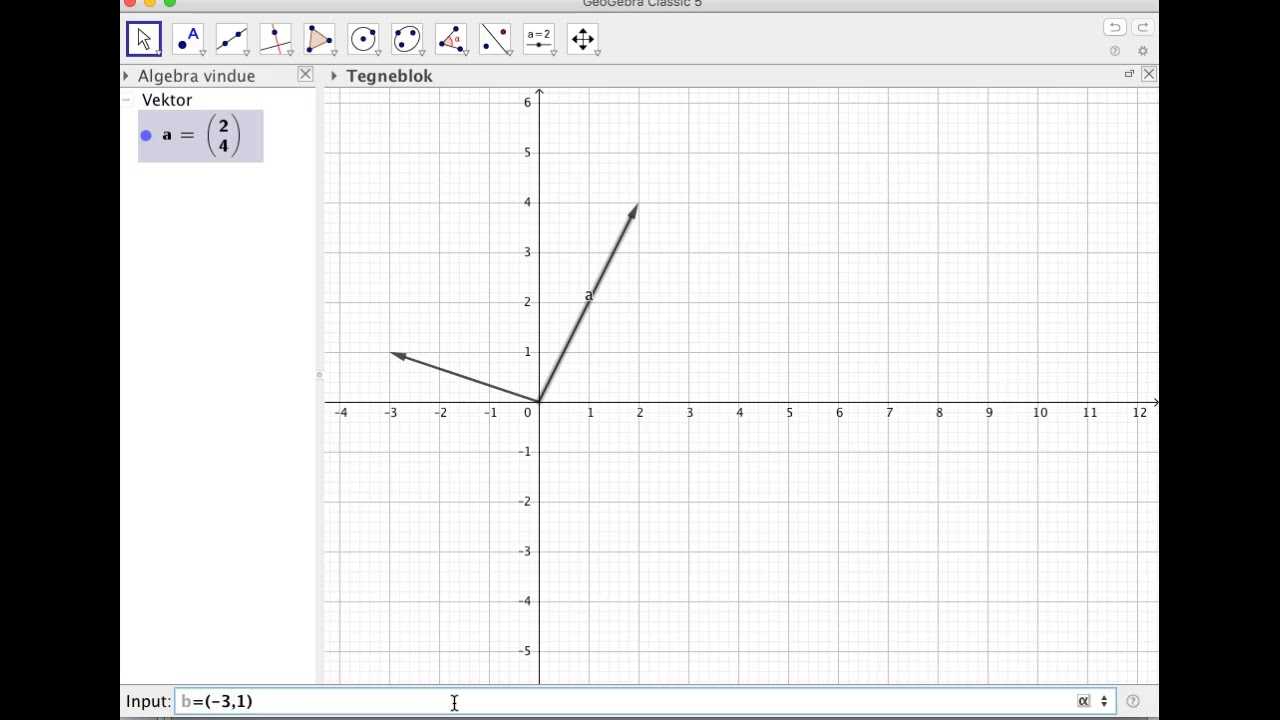 Vinkel mellem vektorer i GeoGebra
