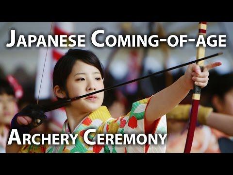 Kyoto Event: Japanese girls in Archery Ceremony (Ōmato Taikai) 通し矢 大的全国大会 京都 三十三間堂