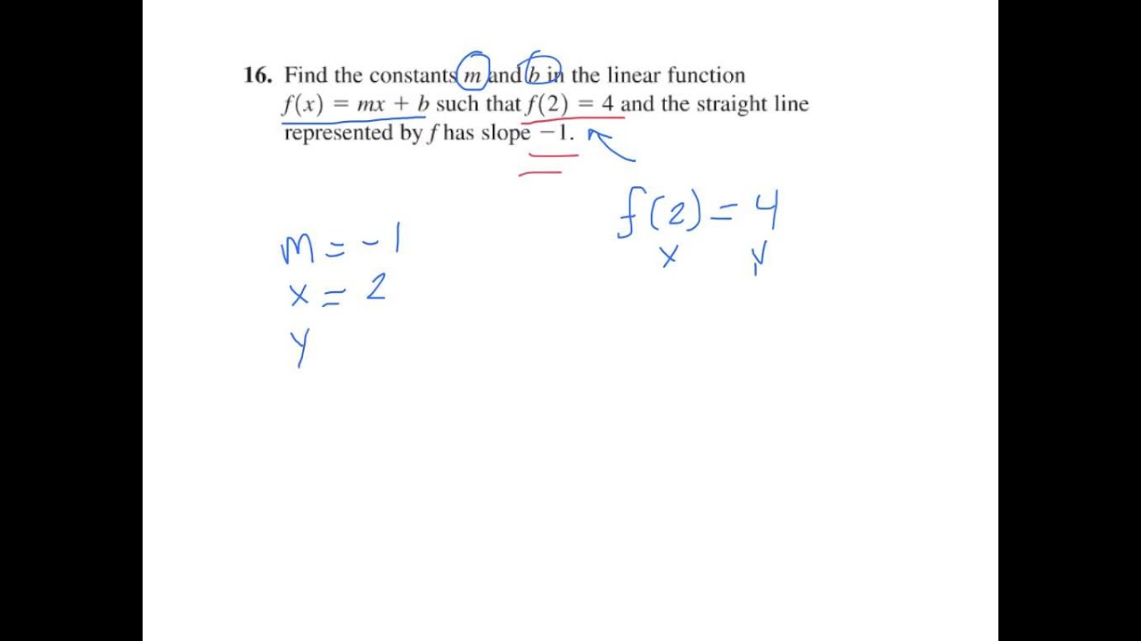 Find Slope (m) And Yintercept (b) For A Linear Function (p 88 #16)