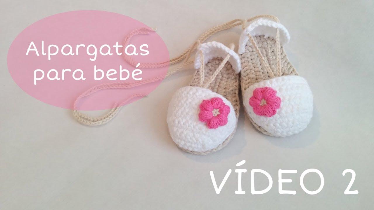 Sandalias o alpargatas para bebé tejidas a crochet (VIDEO II)