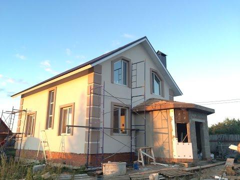 дом 8х10 из газобетоного блока с мокрым фасадом