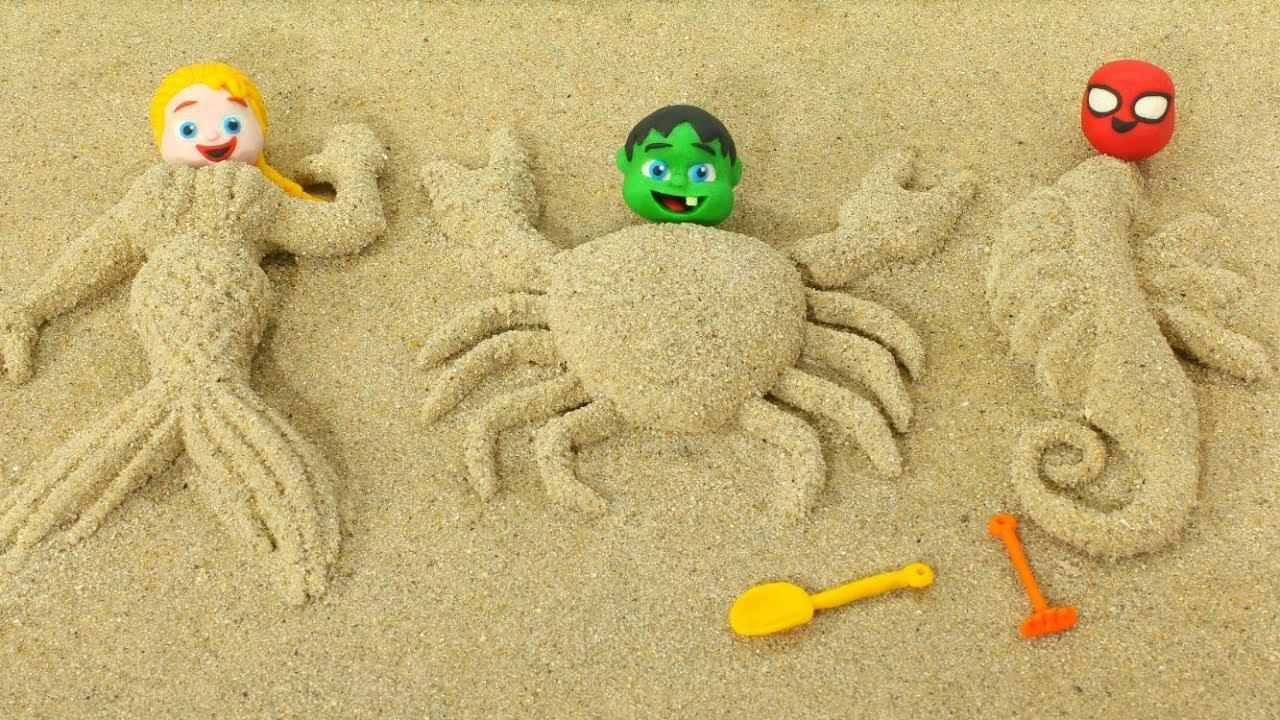 SUPERHERO BABIES MAKE SAND FIGURES ❤ Spiderman, Hulk & Frozen Play Doh Cartoons For Kids