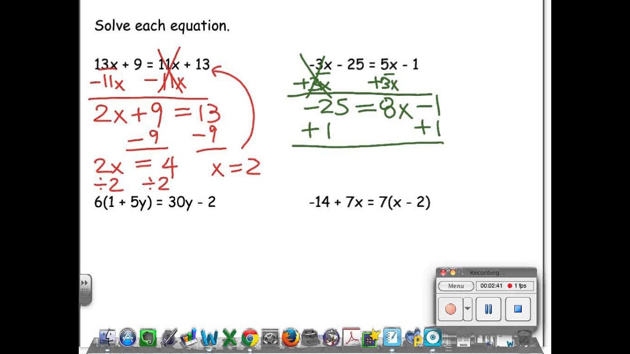 3 3 Solving Equations With Variables On Both Sides Youtube