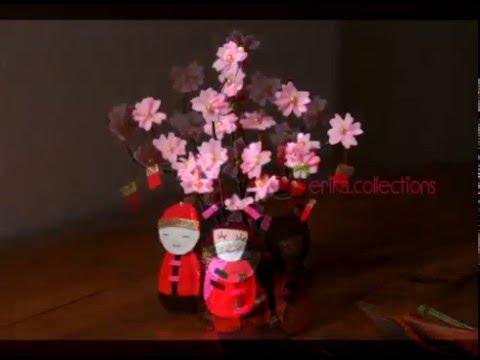 membuat hiasan bunga imlek mei hwa dari flanel felt - youtube