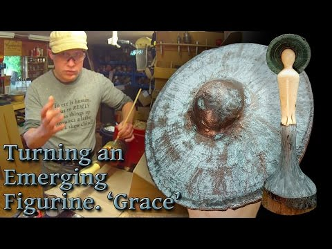 #65 Woodturning and Decorating a Natural Edge Emerging Figurine 'Grace'