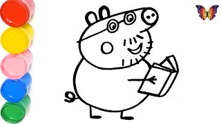 Как нарисовать ПАПУ СВИНА / мультик раскраска СВИНКА ПЕППА  для детей / Раскраски малышам