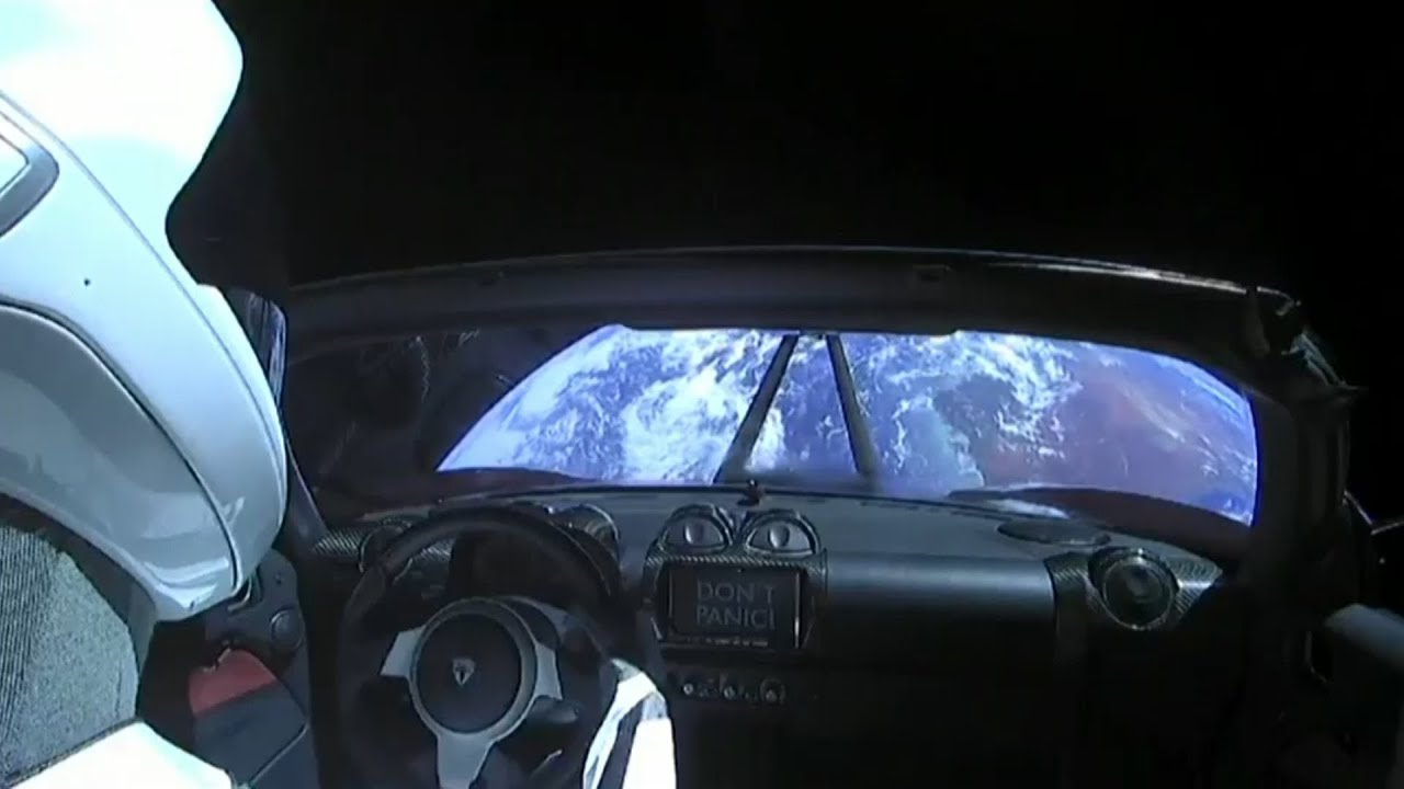 Elon Musk launches a car into space