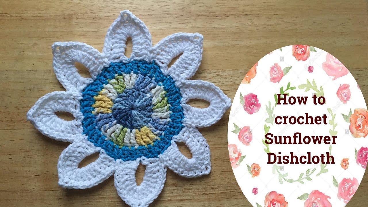 How To Crochet Sunflower Dishcloth