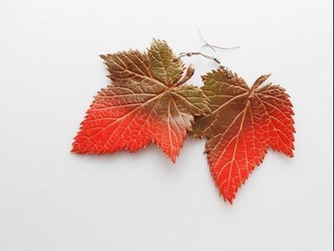 """Серьги """"Последние осенние листья"""" из полимерной глины"""