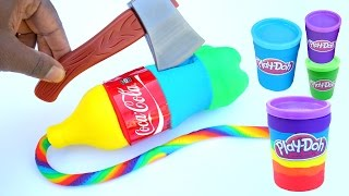 DIY How To Make Super Coca Cola Play Doh Mighty Toys Modelling Clay Learn Colors