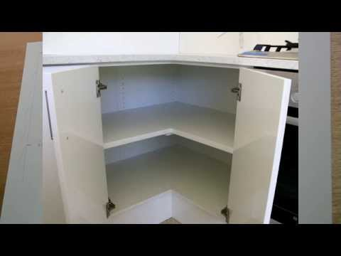 Corner cabinet, problems, and solutions.