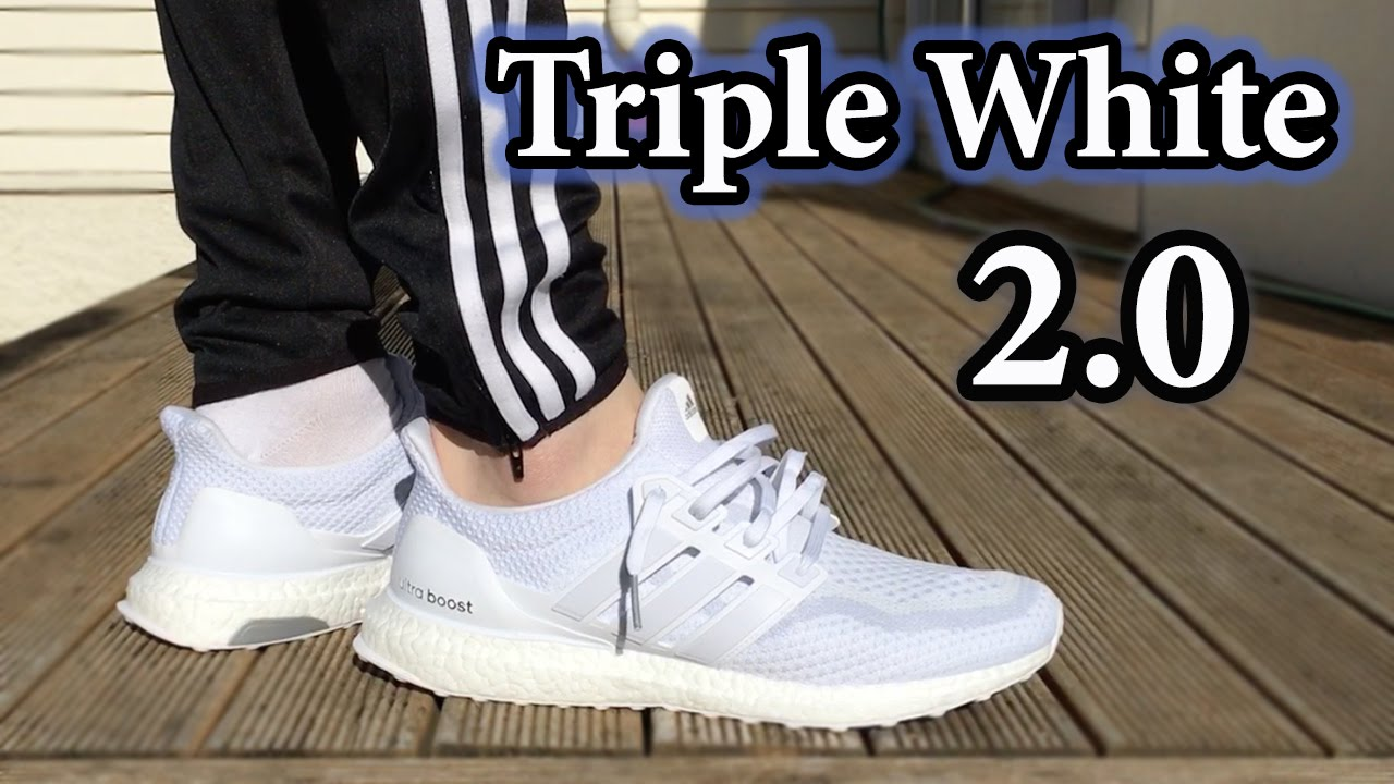 1bc268aef Triple White Ultra Boost 2.0 Close-up + On-Feet w  Different pants ...