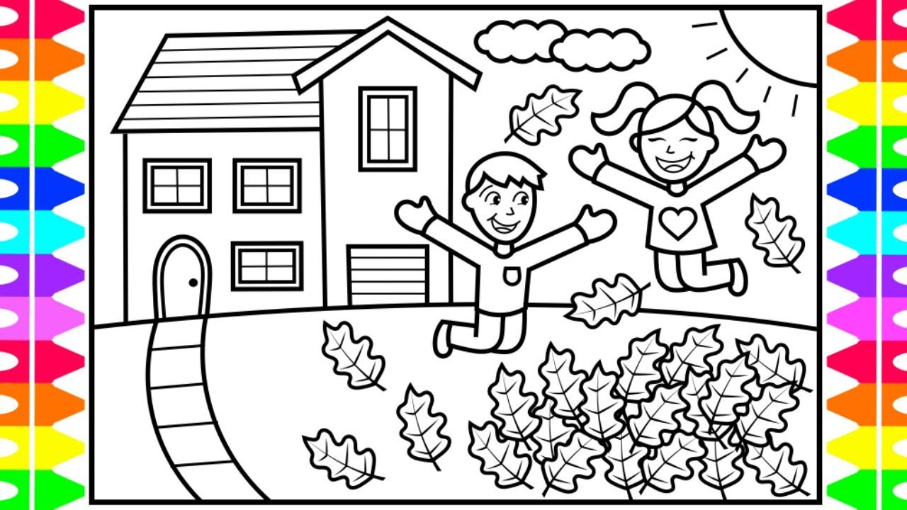 View Cartoon Kids Playing Outside Drawing Background