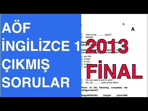 AÖF İngilizce 1 - 2012-2013 Güz Çıkmış Soru Çözümleri (Finaller)