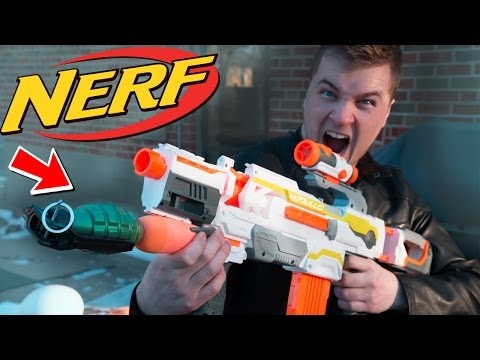 "NERF GRENADE LAUNCHER! W/ Real Grenade ""Most Dangerous NERF GUN Ever"" (EXPERIMENT)"