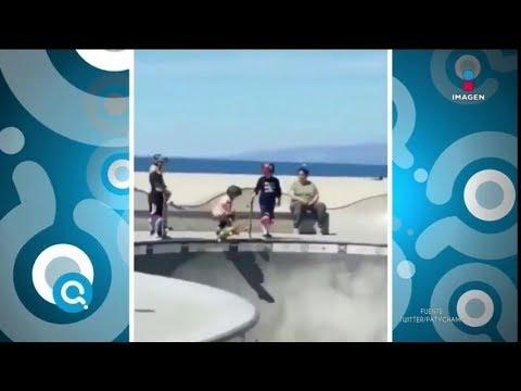 Niño se cae de la patineta   Qué Importa