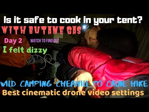 Gas Stove Cooking In Tent Carbon Monoxide Safe Deadly? Wild Camping. Cinematic Drone Video Settings.