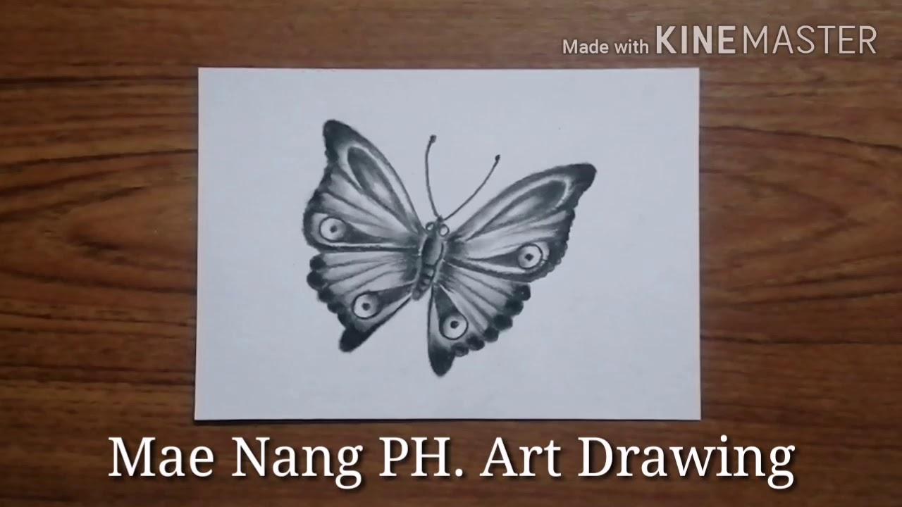 สอนวาดภาพ / วาดภาพแรเงาผีเสื้อ แบบง่ายๆ / แม่นางสอนวาดภาพ
