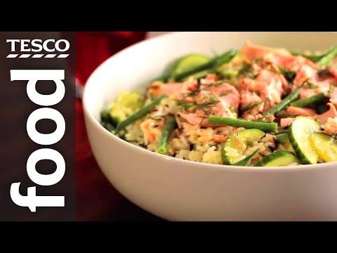 How To Make Salmon And Wild Rice Salad | Tesco Food