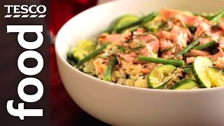 How To Make Salmon And Wild Rice Salad | Tesco Food