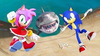 Download GTA 5 Sonic vs Amy Rose Water Ragdolls & Fails Ep.3 [Euphoria Physics / Flooded Los Santos]